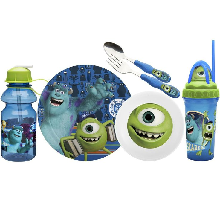 MOnsters University Dinnerware Set Mike Sulley Plate Plate Spoon Fork travel tumbler water bottle  sc 1 st  Pinterest & 29 best Monsters Inc. images on Pinterest | Monsters Birthdays and ...