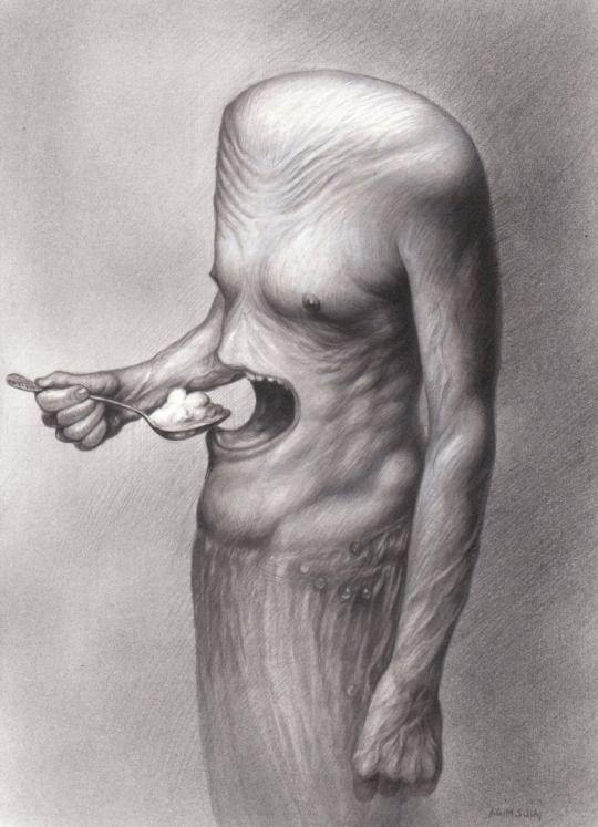 Agim Sulaj (Albanian, b. 1960, Tirana, Albania) - Hunger   Drawings: Technical Pencils, Acrylics on Paper