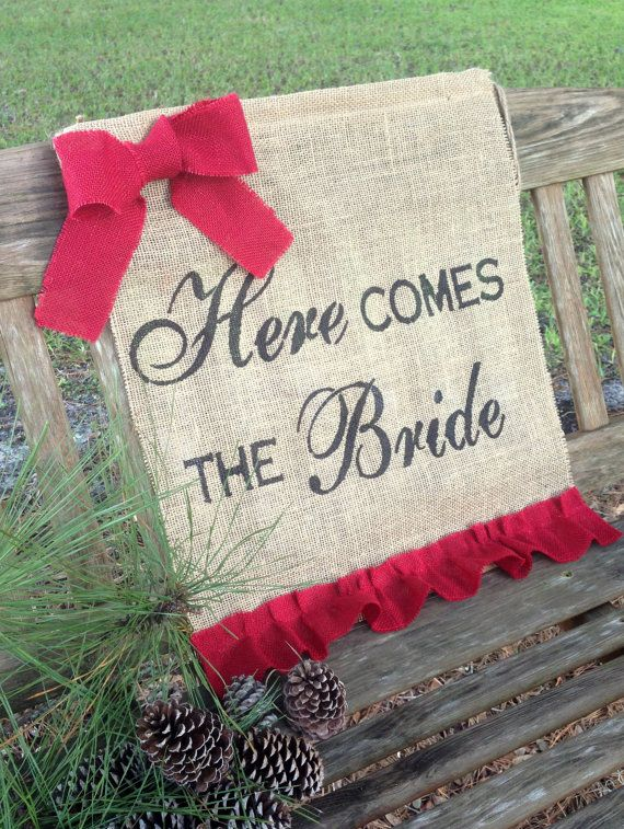 Here Comes the Bride Sign Christmas Wedding RED by LollysCubbyHole, $38.00