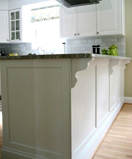 "Kitchen Cabinets Moulding: Peninsula With Trim. Baseboard On Bottom, ""shaker"" Trim In"