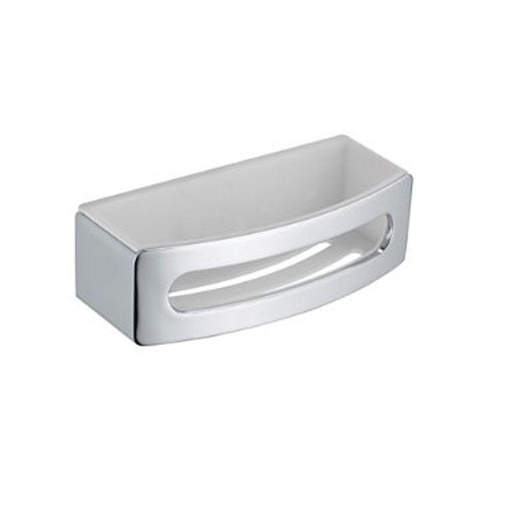Keuco Elegance Shower Basket Chrome White Corner Wall
