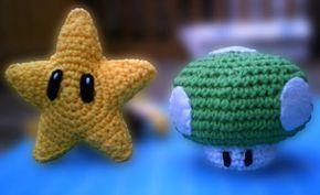 Crochet Mario Star and 1Up Mushroom