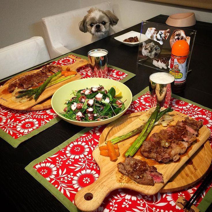 今夜の貴族の晩餐は相変わらず素敵なステーキと蛸サラダをヤラカシたよ( ) ではでは( ω)( ω)かんぱーい by mayuge0807