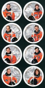 Canada Post - 2003 -Canadian Astronauts: To honour the achievements of Canadian astronauts and the space program. Mark Garneau; Roberta Bondar; Steve MacLean; Chris Hatfield; Robert Thirsk; Bjarni Tryggvason; Dave Williams and Julie Payette