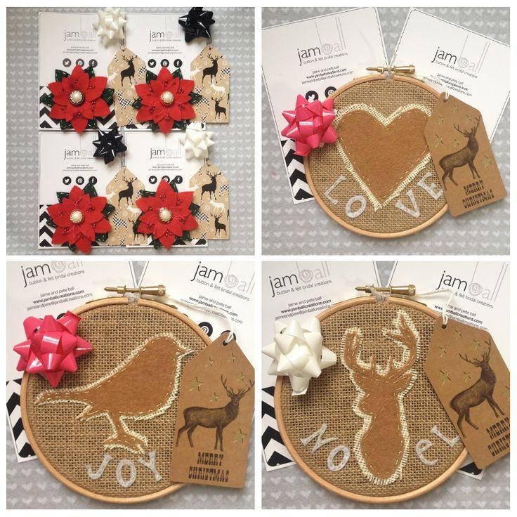 #handmade #Christmas #gift #ideas #tags #stag #robin #heart #felt #poinsettia #woodland