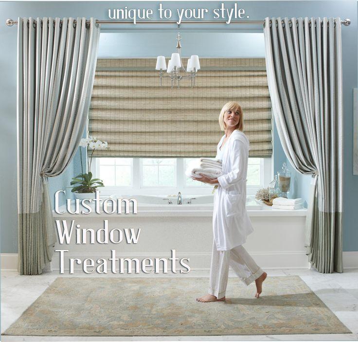 Custom hobbled roman shade blinds with grommet draperies for Blinds for long windows