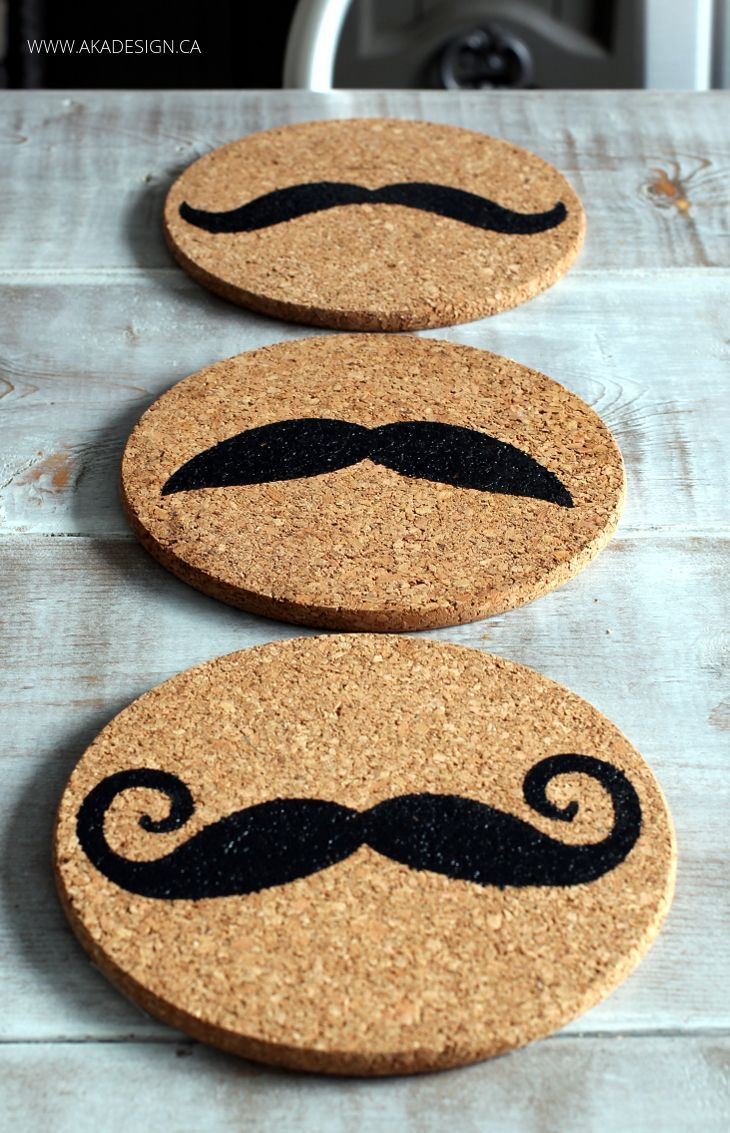 STENCILED CORK TRIVETS - a fun #IKEAHACK using your Silhouette CAMEO or Portrait - fun gift idea!