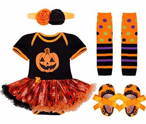 feeshow 4pcs baby girls tutu romper outfits halloween pumpkin aff