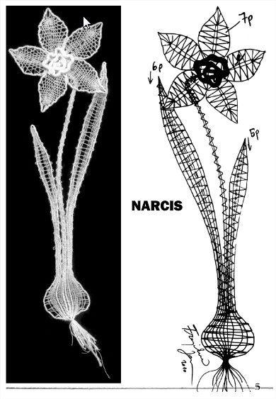 Patrón para Encaje de Bolillos, narciso...Bobbin Lace pattern narcis