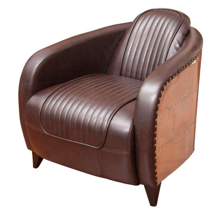 Avion Brown Leather Club Chair Brown Aluminum Sheath 298
