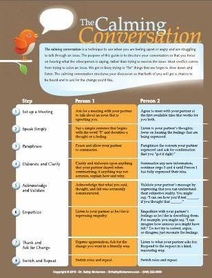 The calming conversation -what a healthy relationship looks like. A great tool to use when you are feeling upset or angry and are struggling to talk through an issue! <3 Theresa!