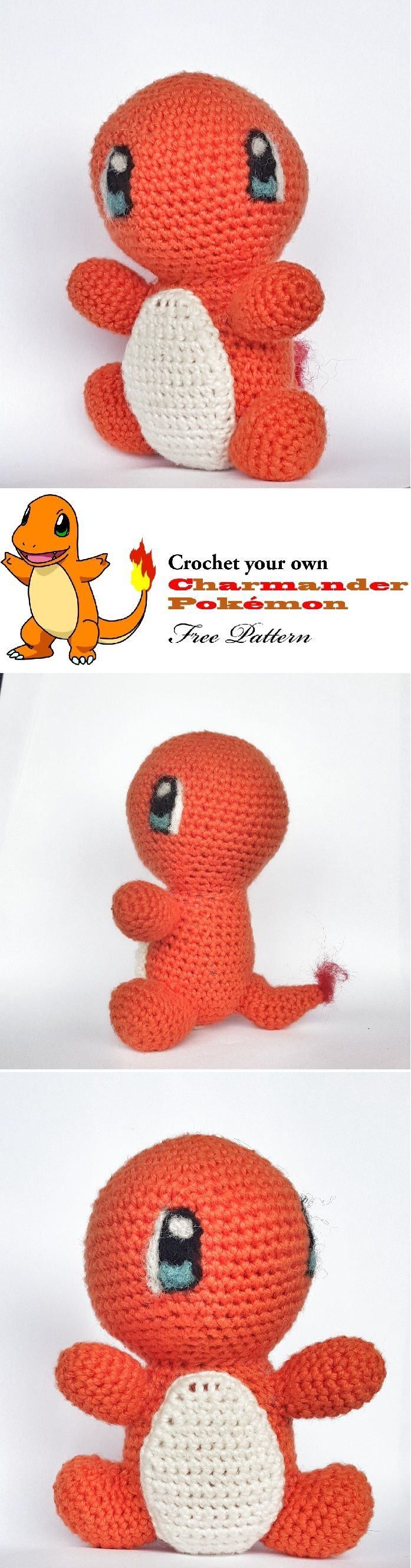 Free Cute Charmander Amigurumi Crochet pattern. More at www.sarafromwonderland.com
