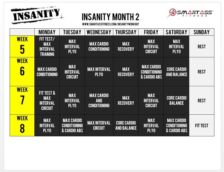 Insanity Workout Schedule - Month 2
