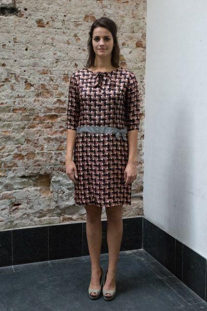 Bruin roze jaren 50 jurk