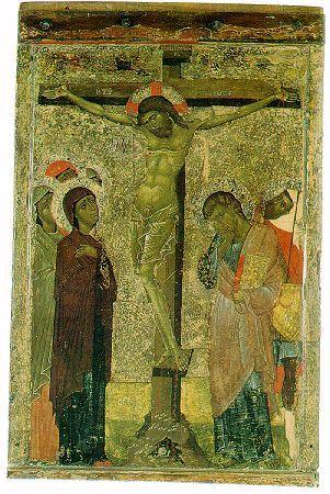 Crucifiction - 14th Century Byzantine Icon - Saint Loukas Church, Nicosia (Cyprus)