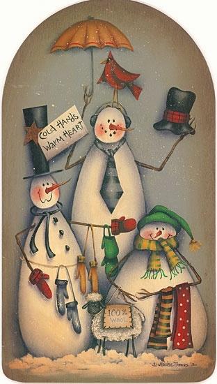 trio of snowmen cold hands warm heart