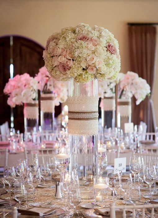Featured Photographer: Arrowood Photography; Wedding reception centerpiece idea.
