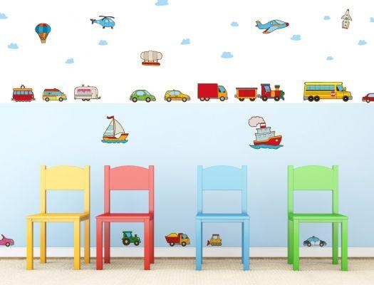 Awesome Babyzimmer Wandsticker Set XXL mit bunten Fahrzeugen