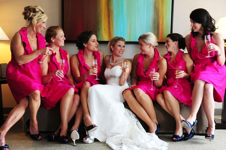 Glamorous bridesmaids in hot pink Lula Kate dresses ruffle dress, bridesmaids dress, glam bride and bridesmaids Courtney & Robb's Annapolis Westin wedding by Charlotte Jarrett Events