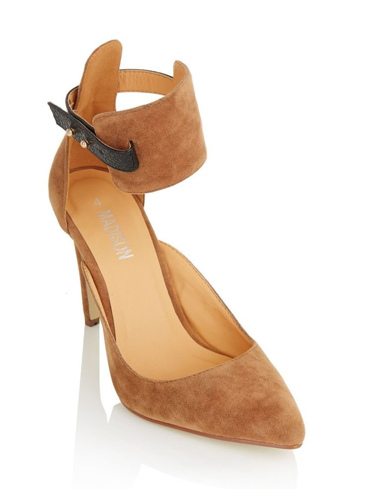 Court shoes with ankle strap Camel/Tan