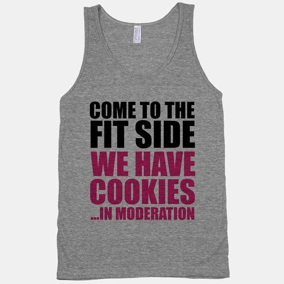 Come To The Fit Side We Have Cookies ... In Moderation - American Apparel Athletic Grey Tank IN MODERATION! Bwahaha!
