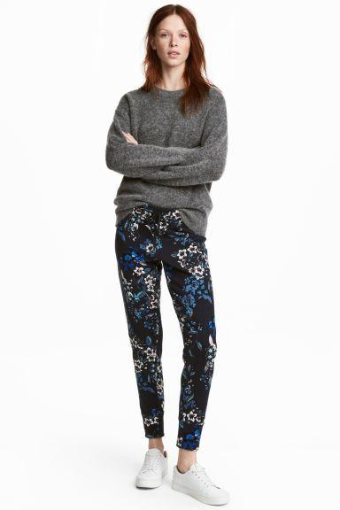 Pantalon jogger - Bleu foncé/fleuri - FEMME | H&M FR
