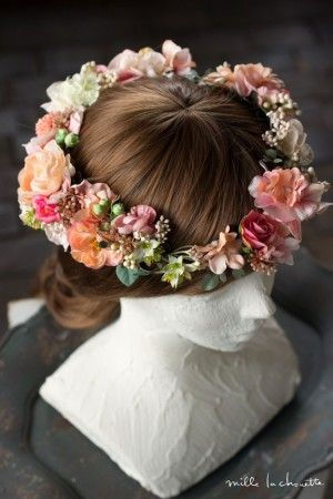 サーモンピンクガーベラとローズのヘッドドレス 花冠 corolla#garland#wreath