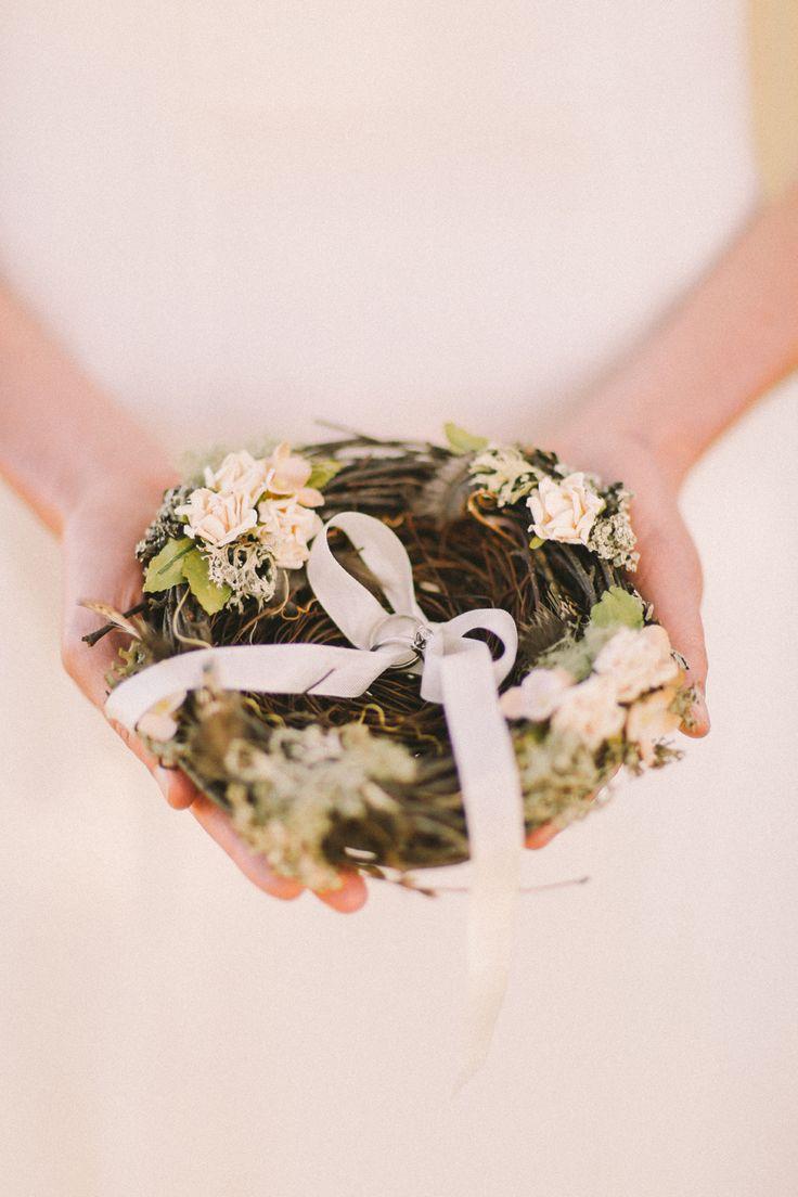 A bird's nest to hold your rings / alternative ring pillow   An Enchanted Garden Styled Wedding Shoot #jennysun
