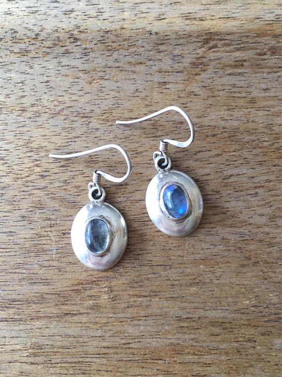 Moonstone Earrings Sterling Silver Earrings Oval Shaped