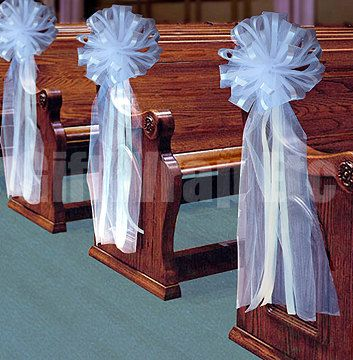 "6 Large WhiteTulle Pew Bows Wedding Decorations Church Chair Railings Staircase 11""x30"". $48.00, via Etsy."