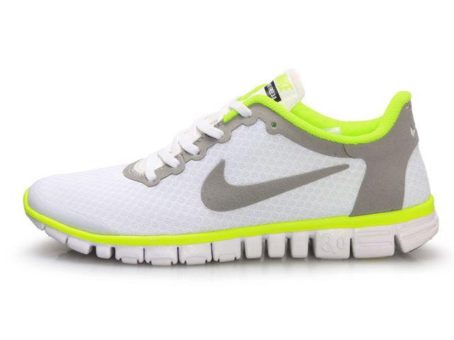 Chaussures Nike Free 3.0 Blanc/ Vert/ Gris [nike_11921] - €46.93 :
