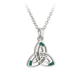 Trinity Knot Pendant with Green and White Crystals, Silver Plated