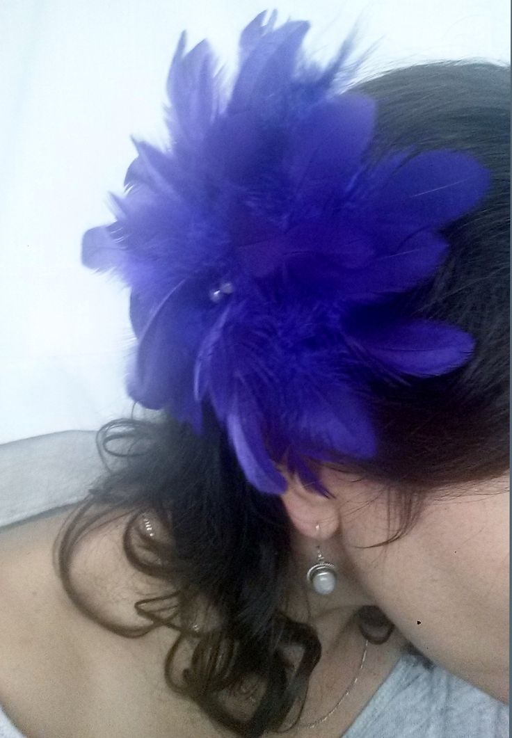 Beautiful Large, Full, Purple Feather Flower Fascinator made with glass pearls and gator clip For more details, please visit : www.etsy.com/shop/PeachesPlumageWorks