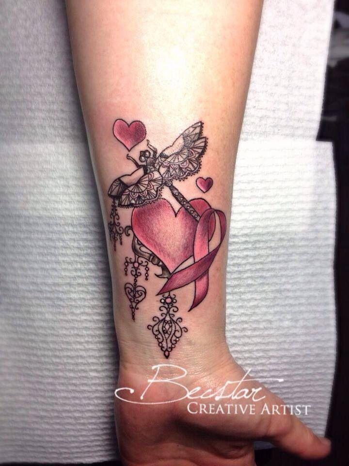 Beautiful wrist tattoo of heart, pink ribbon and dragonfly