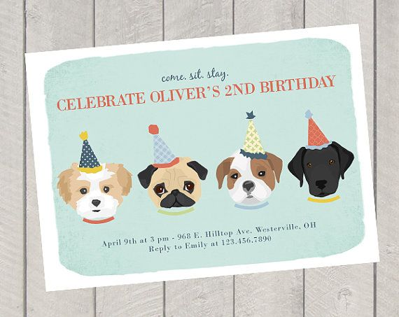 Children's Birthday Invite - Dog Theme Birthday Party Invitation