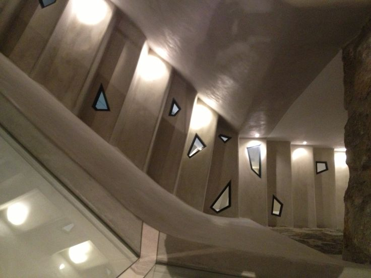 Staircase in a Mykonos vacation house designed by Zoumboulakis Architects.