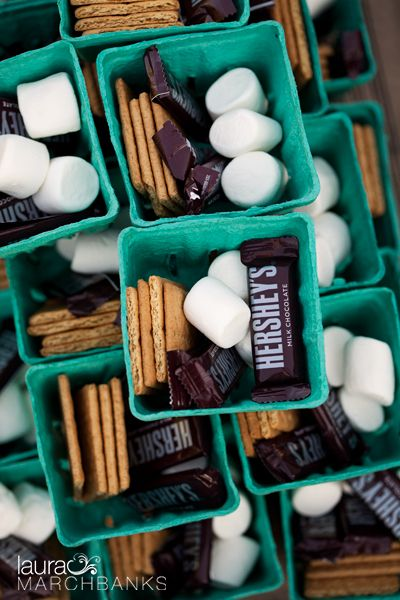 Homemade smores kits for wedding. Laura Marchbanks Photography captures a farm wedding at Willie Green's wedding venue near Seattle, Wa