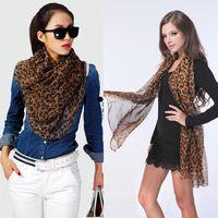 mujer leopardo moda gasa larga bufanda envuelve chal pashmina rob la bufanda de cuello cy
