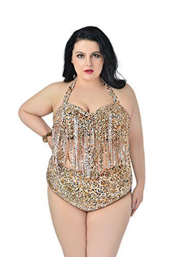 MissFox Femme Grand Bikini Maillot de Bain Frange Tassel Padded Bathing Suit Ensemble de Deux Pièces Léopard Grande Taille 3XL