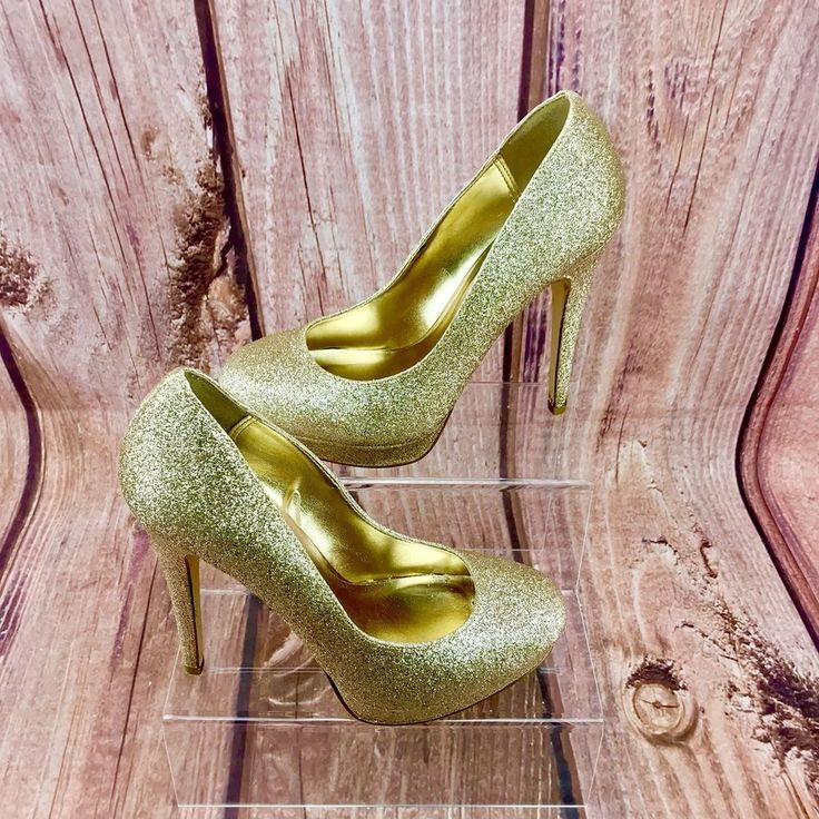 Womans platform Shoes 👠 South Gold Glitter Boxed uk 5 sparkle high heel court