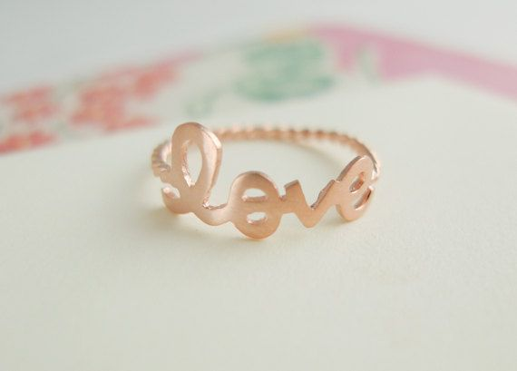 rose gold love ring with twisted ringband us size 5  by applelatte, $13.00
