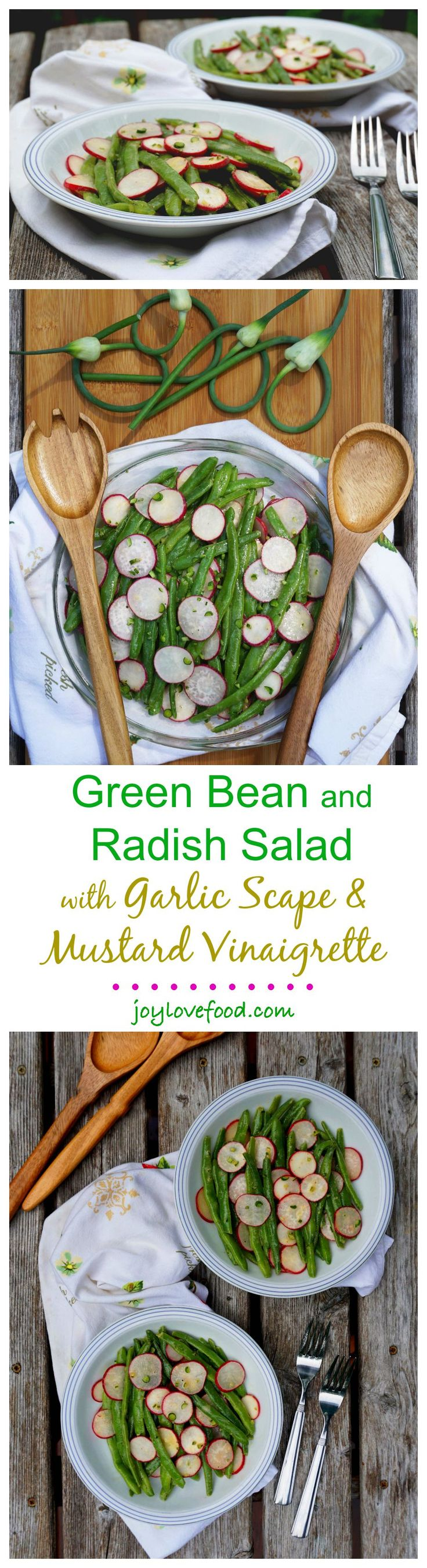 Green Bean and Radish Salad with Garlic Scape & Mustard Vinaigrette - fresh, vibrant and full of flavor, this is a delicious side dish for a summer barbeque, it is also great for a healthy lunch or snack.