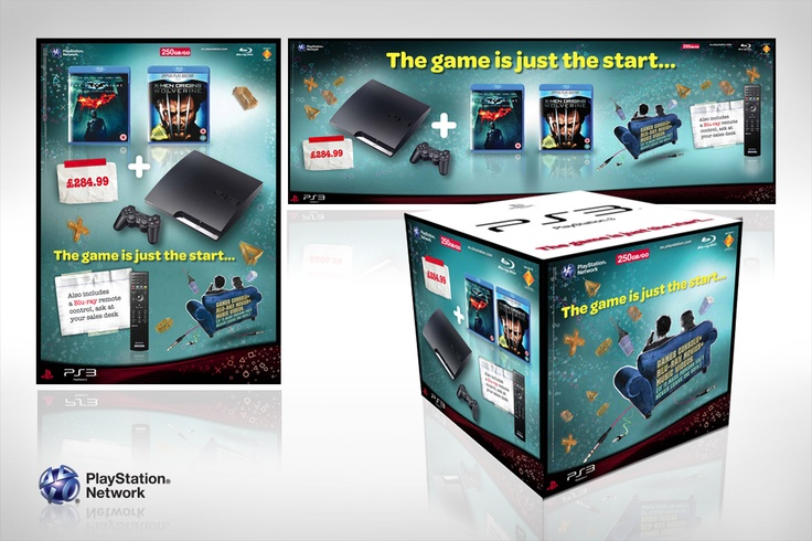 "Sony Playstation ""The Game Is Just The Start"" campaign. Various point of sale designs advertising a ""bundle"" of Sony Playstation games, consoles and accessories."