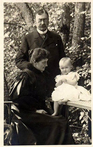 Grand Duke William IV with his wife Grand Duchess Maria Anne, nee Infanta of Portugal, and their eldest daughter and heir Princess Marie Adelaide, future Grand Duchess of Luxembourg. The couple had five more daughters.