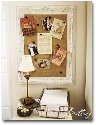 From The Painted Parsonage blog.  Thrifted frame painted, corkboard, burlap. @JadaTheCicada   @Lydia Buckley