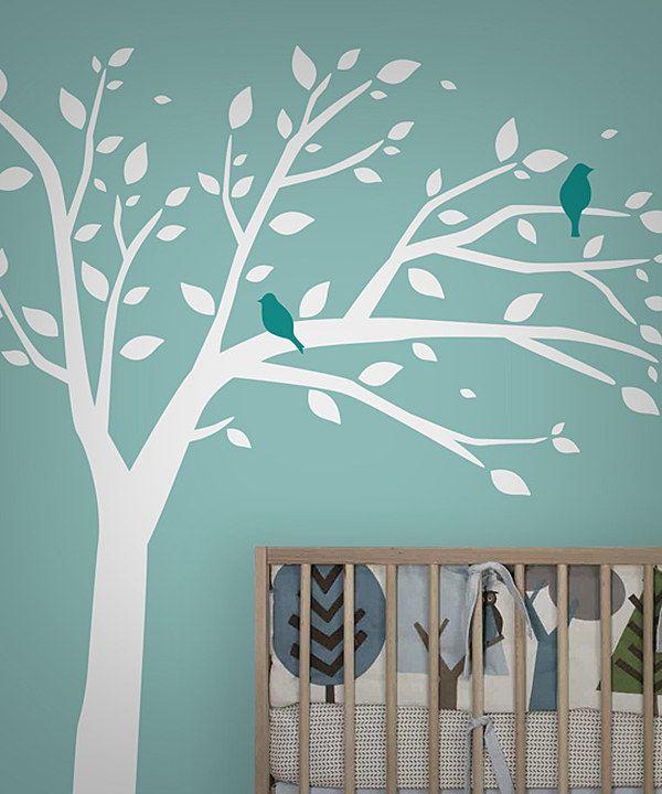 Look at this #zulilyfind! White & Blue Bird Tree Wall Decal Set by looksugar* #zulilyfinds