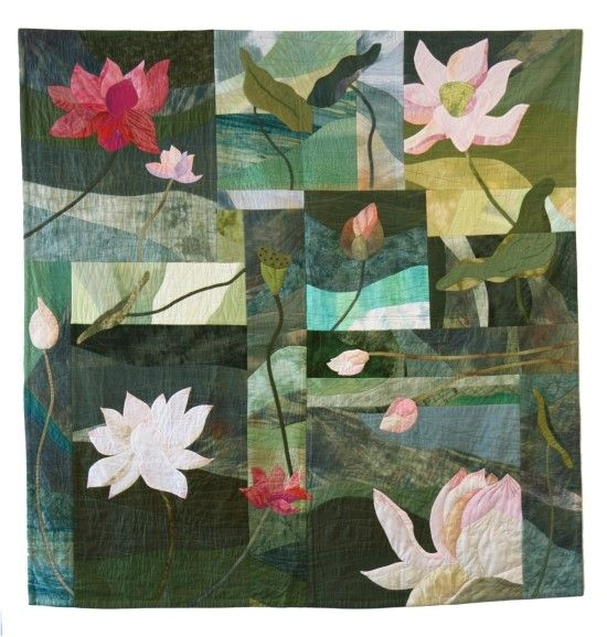Lotus Road, 176 × 180cm, art quilt by Takako Ishinami. Artist Interview, EWHO gallery blog.