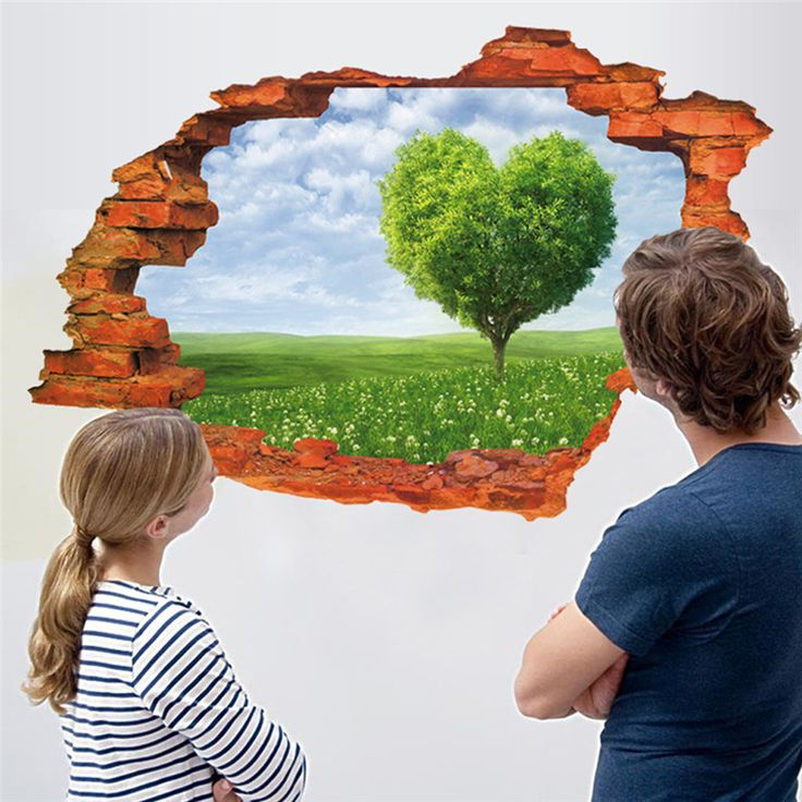 Природа Blue sky белые облака стикер стены Свежей травы сердце дерево стены наклейки гостиная Спальня обои свадебные украшения