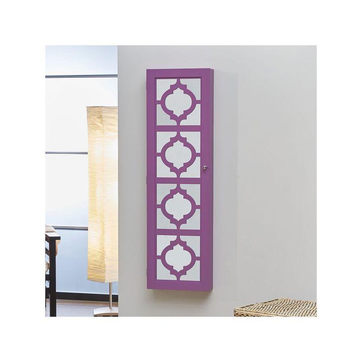InnerSpace Designer Mirrored Jewelry Wall Armoire, Purple