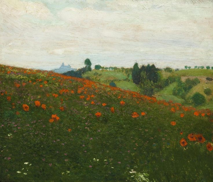 A Landscape below the Ruin of Trosky Castle František Kaván  circa 1911   Painting - oil on cardboard  Height: 22 cm (8.66 in.), Width: 26 cm (10.24 in.)